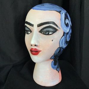 Pin Up Hat Wig Head Bust Woman Stand